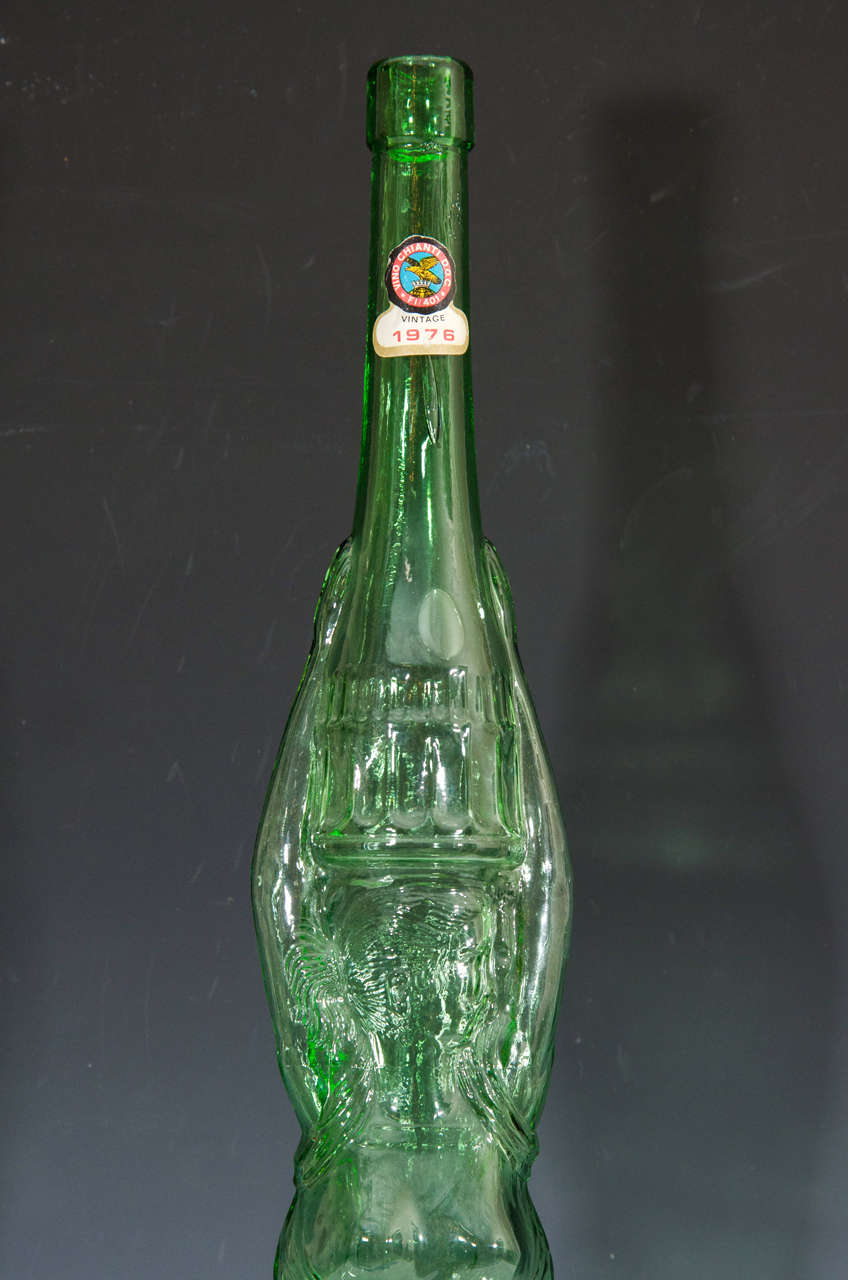 Midcentury tall tuscan chianti glass wine bottle in the for Most beautiful wine bottles