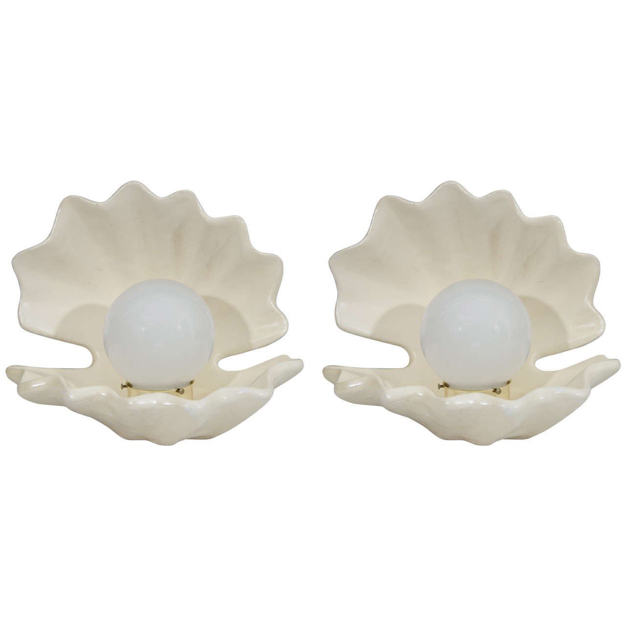 Hollywood Regency Style Pair Of Pearl In Oyster Shell