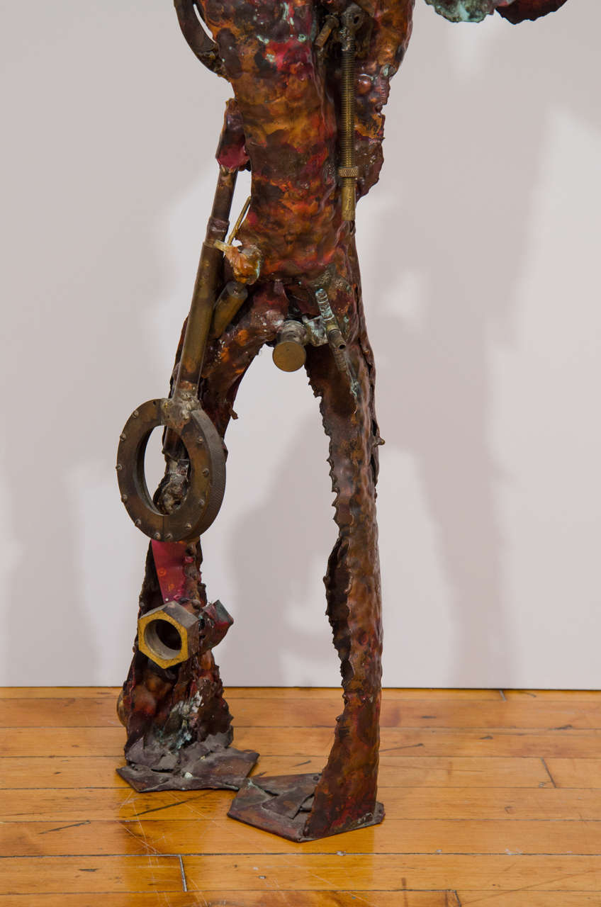 Late 20th Century Brutalist Sculpture of a Male Figure For Sale