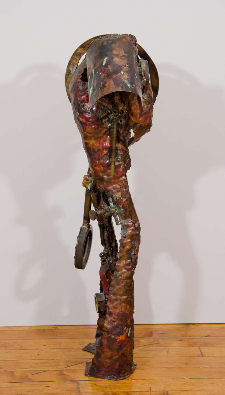 Copper Brutalist Sculpture of a Male Figure For Sale