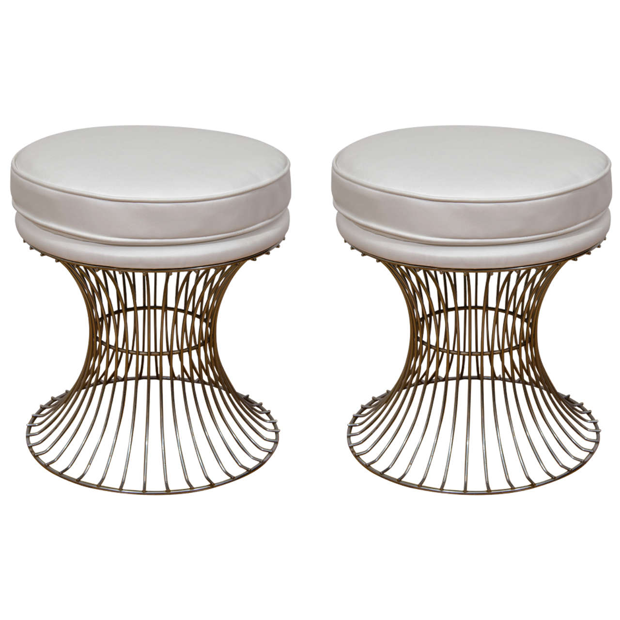 Midcentury Pair of Chrome Wire Base Stools in the Style of  : X from www.1stdibs.com size 1280 x 1280 jpeg 117kB