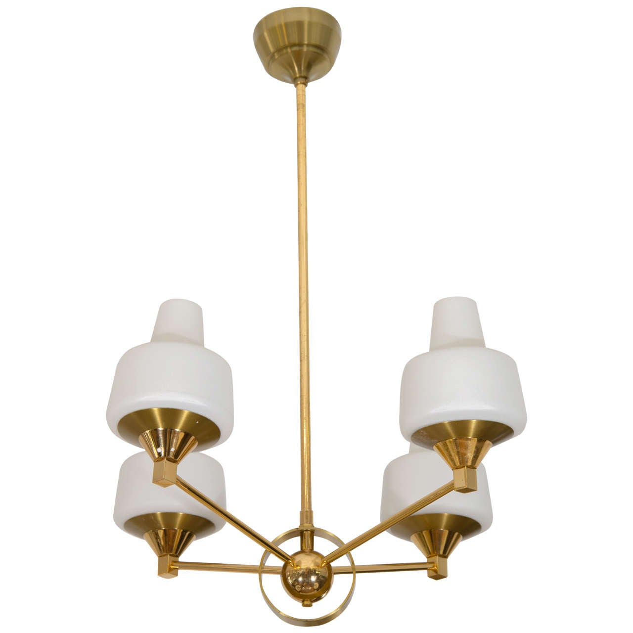 Midcentury Brass and Frosted Glass, Four-Arm Pendant Light