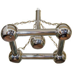 Midcentury Chrome Tubular Chandelier in Style of Sciolari
