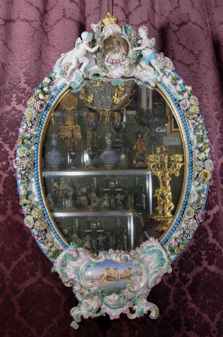 German Meissen Or Dresden Oval Porcelain Cherub Mirror At