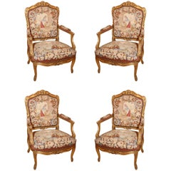 French 19th c Giltwood  five piece Grand Salon Set/ Aubusson upholstry