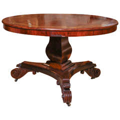 American Center Table in Flame Mahogany with gilt stenciled design