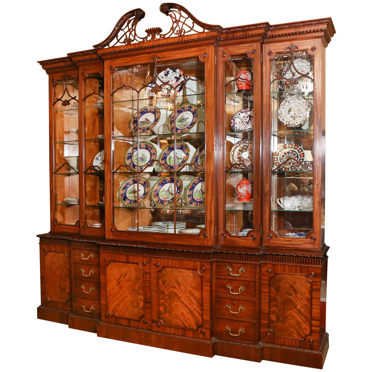 Attractive English Chinese Chippendale Style Break Front Display Cabinet 1