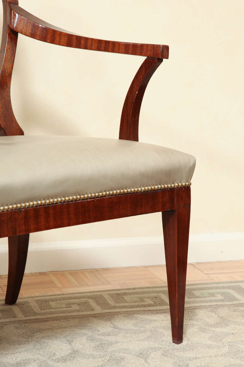 Mid-19th Century Fine Pair of Biedermeier Mahogany and Penwork Armchairs For Sale