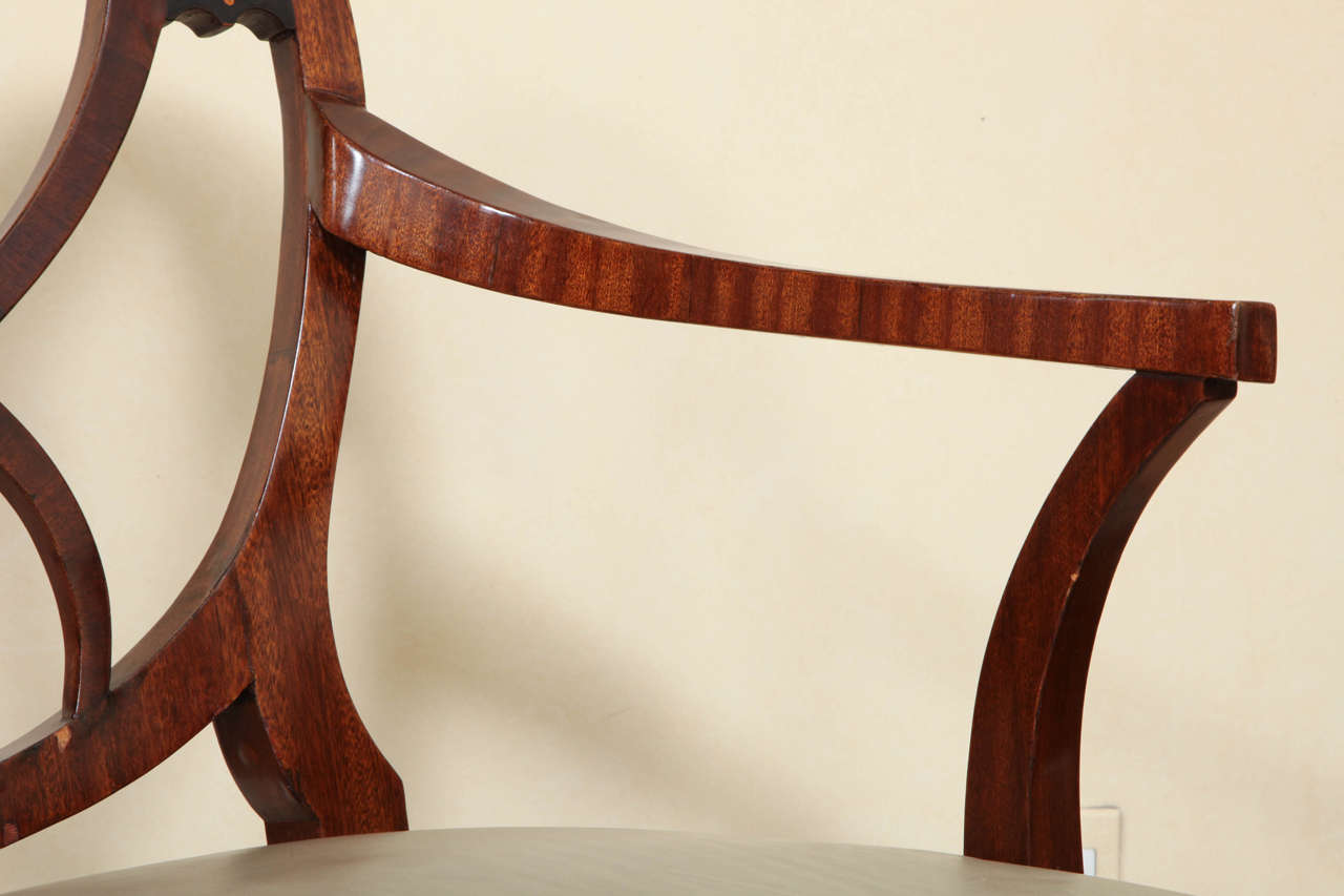 Fine Pair of Biedermeier Mahogany and Penwork Armchairs For Sale 2