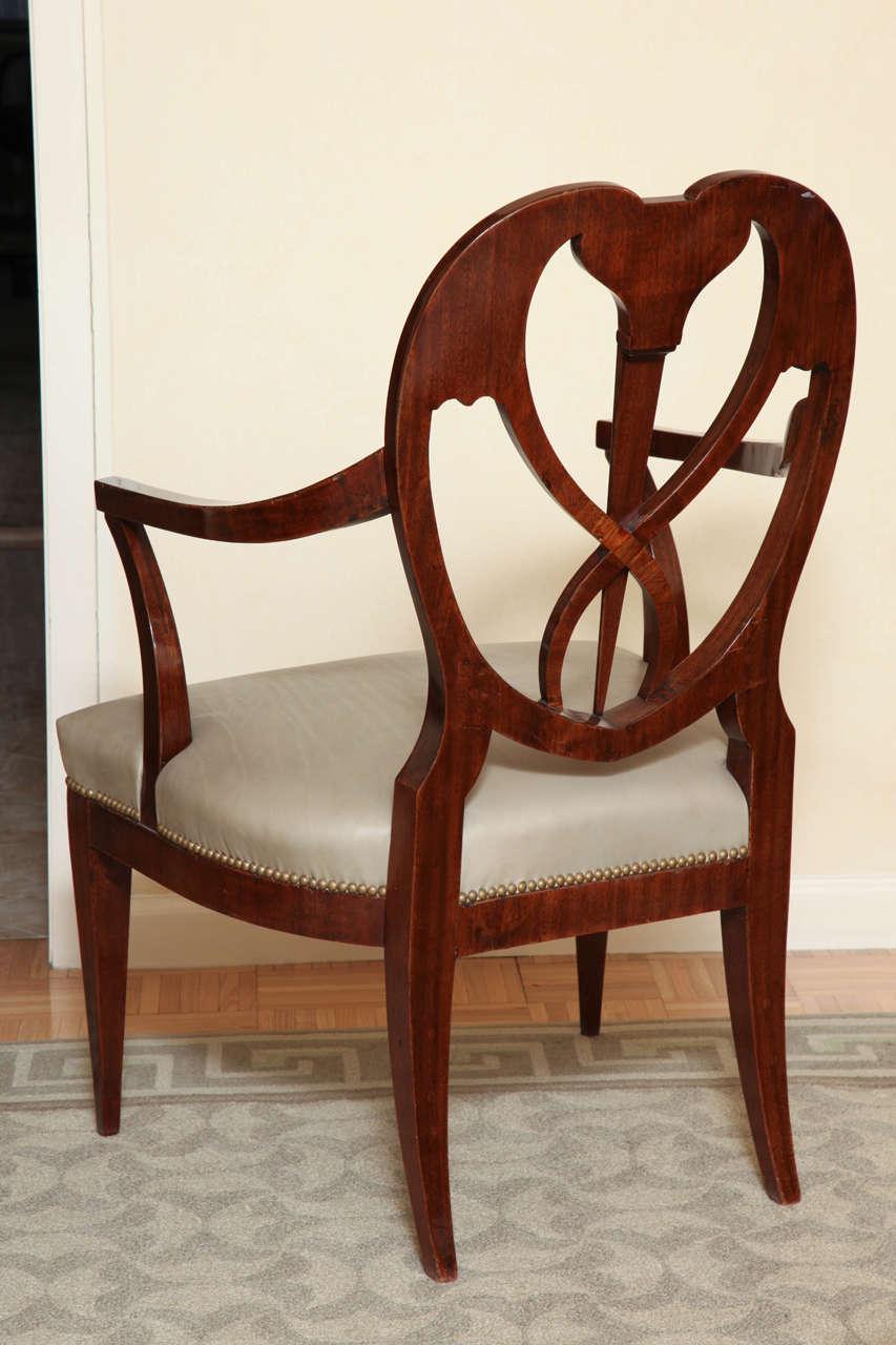 Fine Pair of Biedermeier Mahogany and Penwork Armchairs For Sale 4