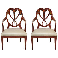 Fine Pair of Biedermeier Mahogany and Penwork Armchairs