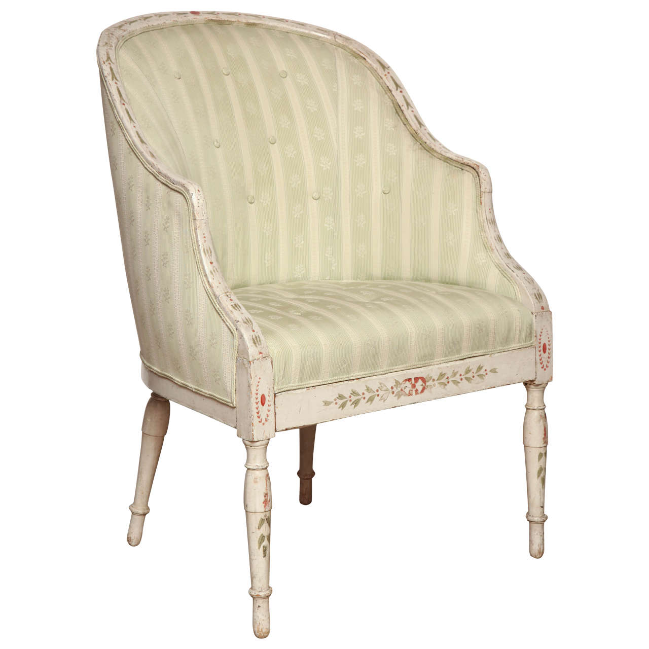 Hepplewhite Cream Painted Tub Chair For Sale At 1stdibs