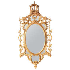 Chinese Chippendale Oval Mirror