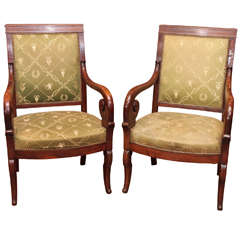 Pair of Fine French Restauration Mahogany Fauteuils