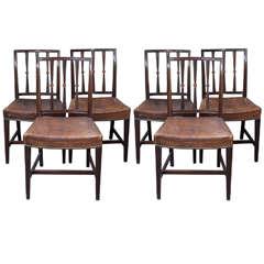 Six English Georgian Mahogany Dining Chairs