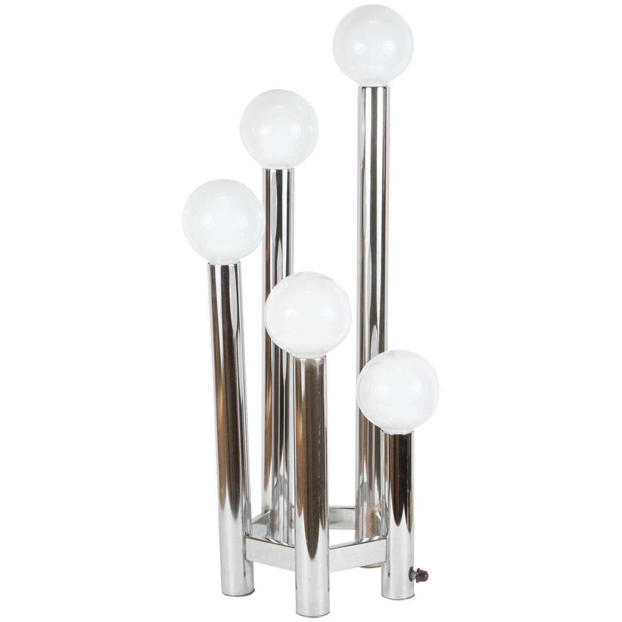 Hexagonal Chrome Tower Table Lamp