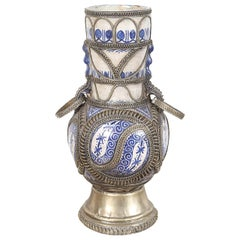 Moorish Moroccan Blue and White Ceramic Vase from Fez with Silver Filigree