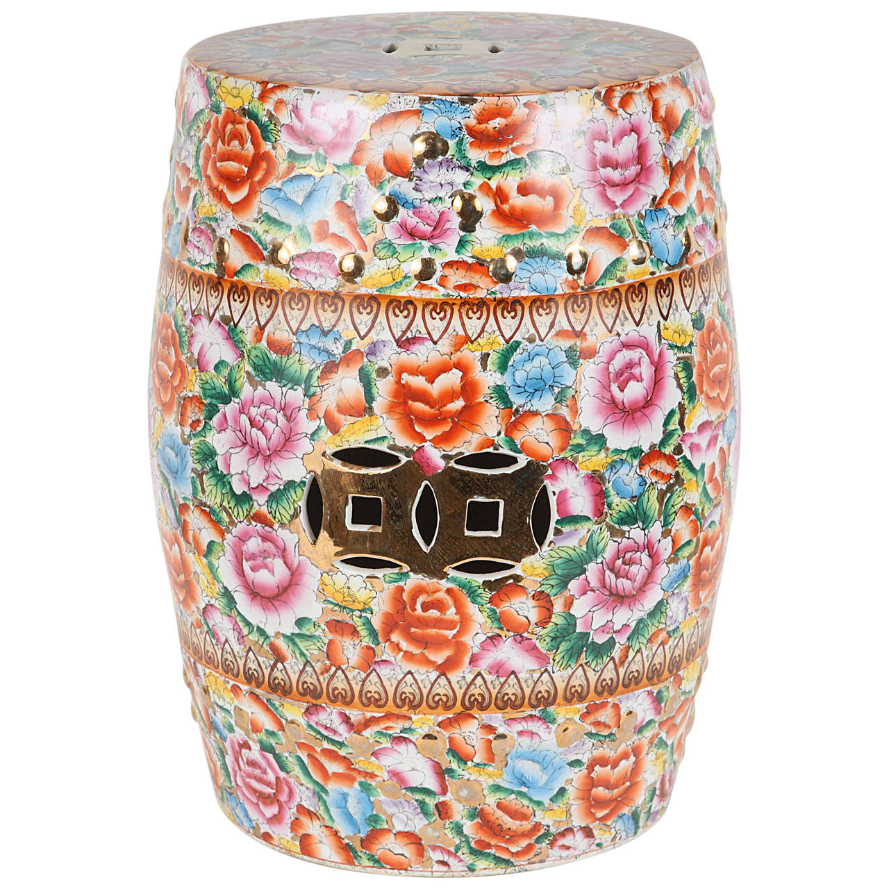 Chinese Pink Ceramic Garden Seat with Lucky Coins