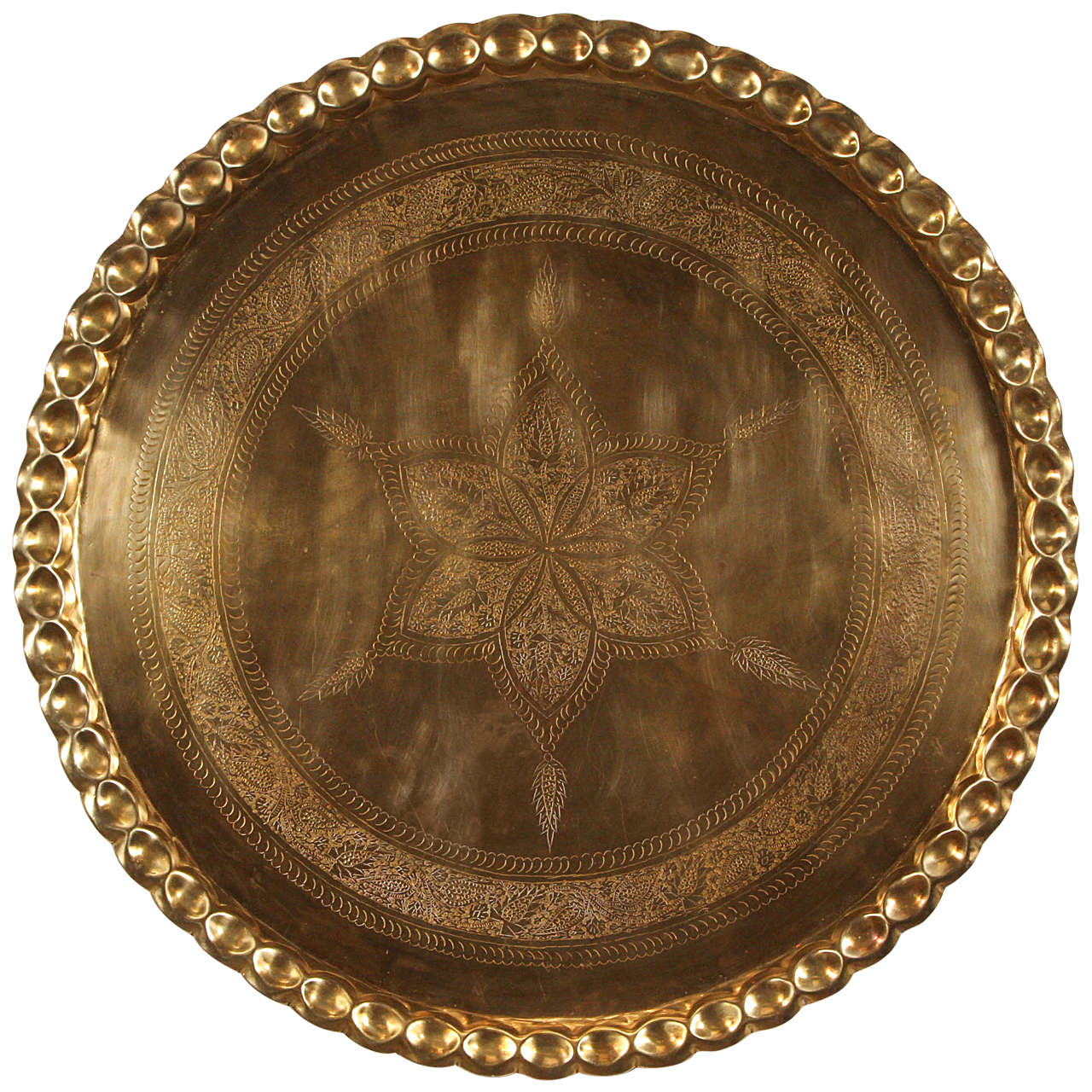 Large Hanging Moroccan Brass Tray Platter At 1stdibs