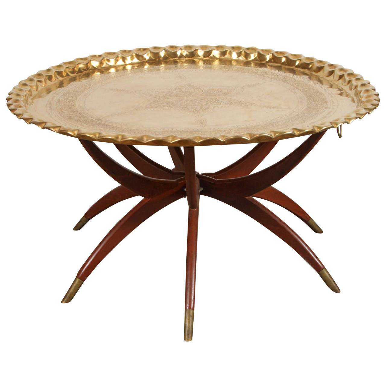 large round brass tray table on spider folding stand. Black Bedroom Furniture Sets. Home Design Ideas