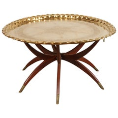 Moroccan Moorish Brass Tray Table on Spider Folding Stand