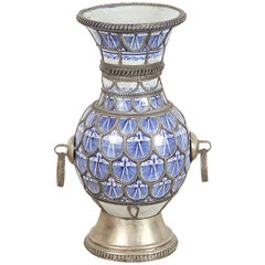 Antique Moorish  Ceramic Vase from Fez Blue and White with Silver filigree