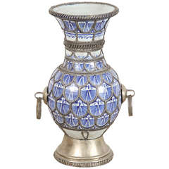 Antique Moroccan Ceramic Vase from Fez Blue and White with Silver filigree