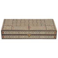 Fine Syrian Inlaid Mosaic Backgammon Wooden Box