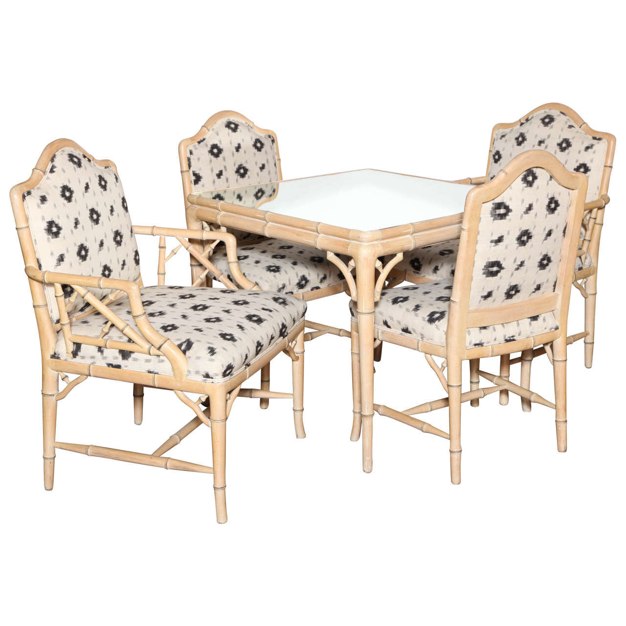 ... Faux Bamboo Card Table and Four Matching Chairs, circa 1970 at 1stdibs
