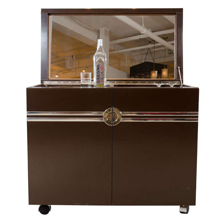 Laminate And Polished Chrome Dry Bar Cabinet By Pierre Cardin For Sale