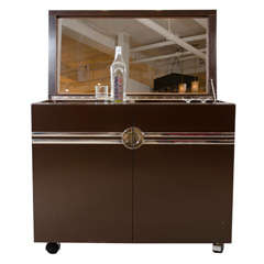 Laminate and Polished Chrome Dry Bar Cabinet by Pierre Cardin