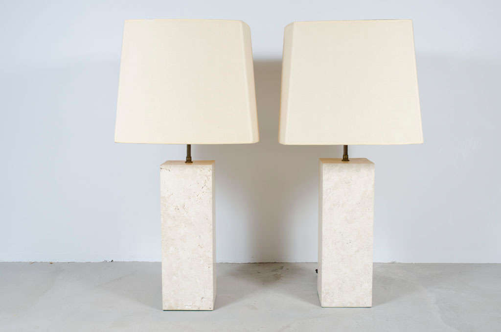 A Monumental Pair Of Travertine Table Lamps In An Elegant Square  Column Form. American
