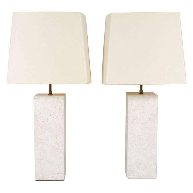 Pair of Substantial Travertine Square Column Table Lamps