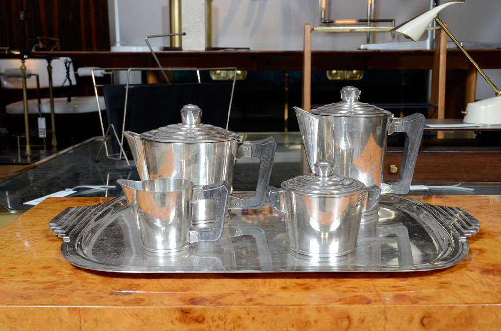 French Sterling Silver Coffee & Tea Set with Tray by Ercius image 2