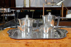 French Sterling Silver Coffee & Tea Set with Tray by Ercius thumbnail 2