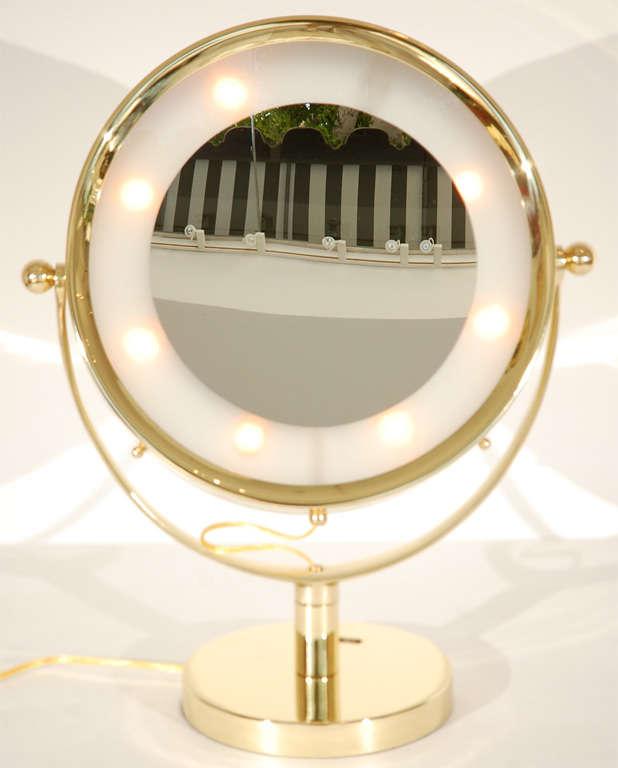 beautiful illuminated brass vanity mirror for sale at 1stdibs. Black Bedroom Furniture Sets. Home Design Ideas