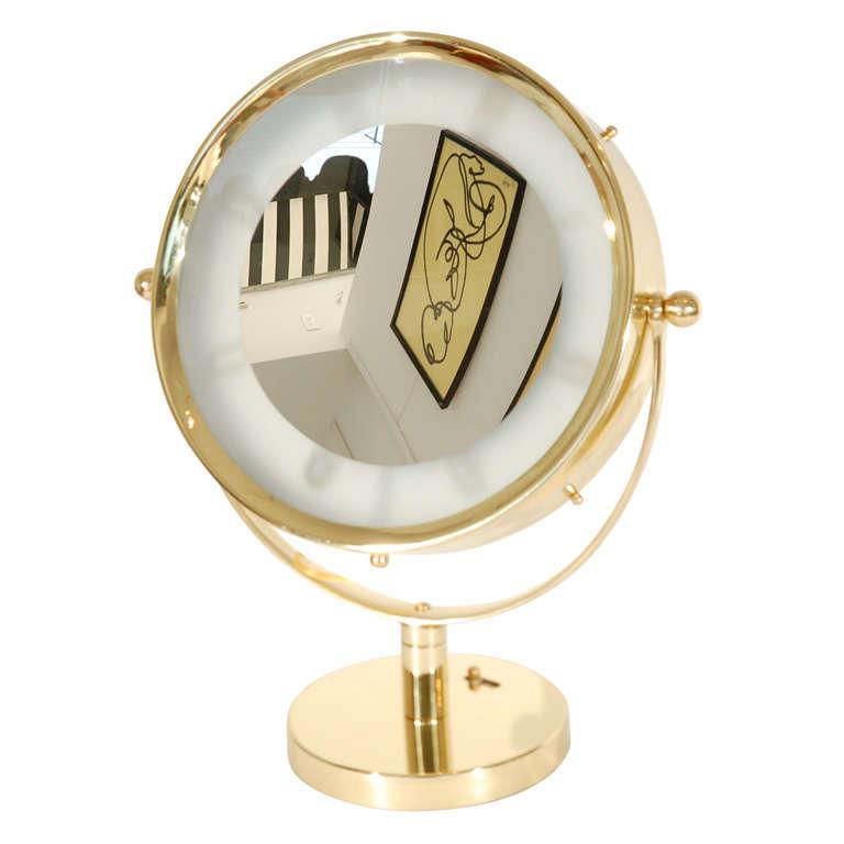 beautiful illuminated brass vanity mirror at 1stdibs. Black Bedroom Furniture Sets. Home Design Ideas