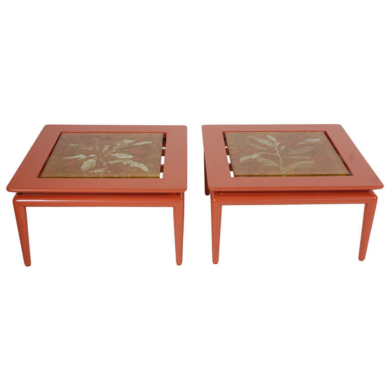 Pair of Custom Side Tables with Fontana Arte Tops by Dube