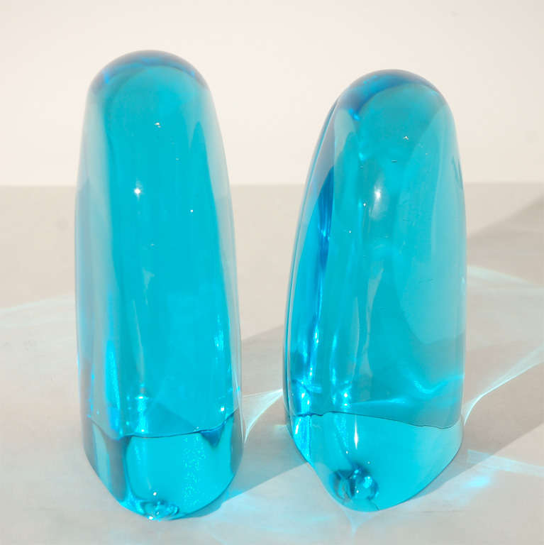 Mid-20th Century Pair of Blue Murano Glass Bookends