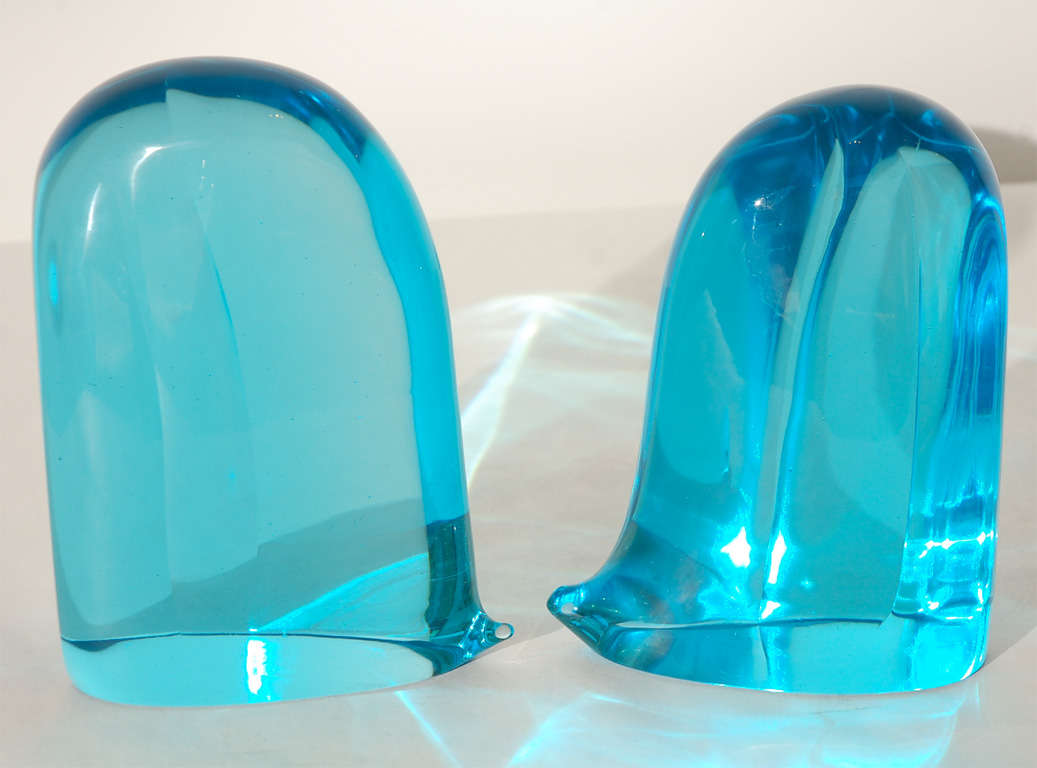 Pair of Blue Murano Glass Bookends 2