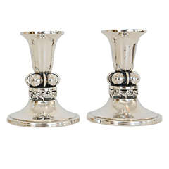 A Pair of Sterling Candlesticks by Alphonse La Paglia