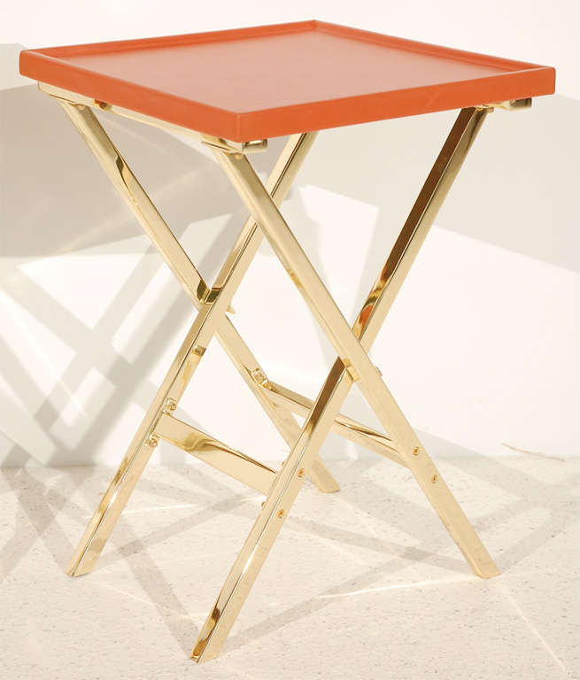 French Pair of Brass and Leather Side Tables For Sale