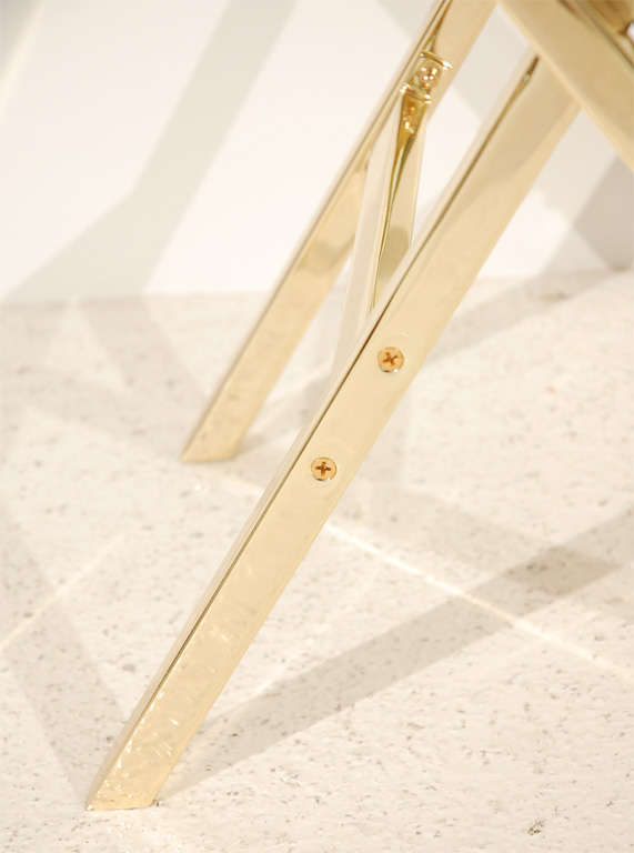 Pair of Brass and Leather Side Tables For Sale 1