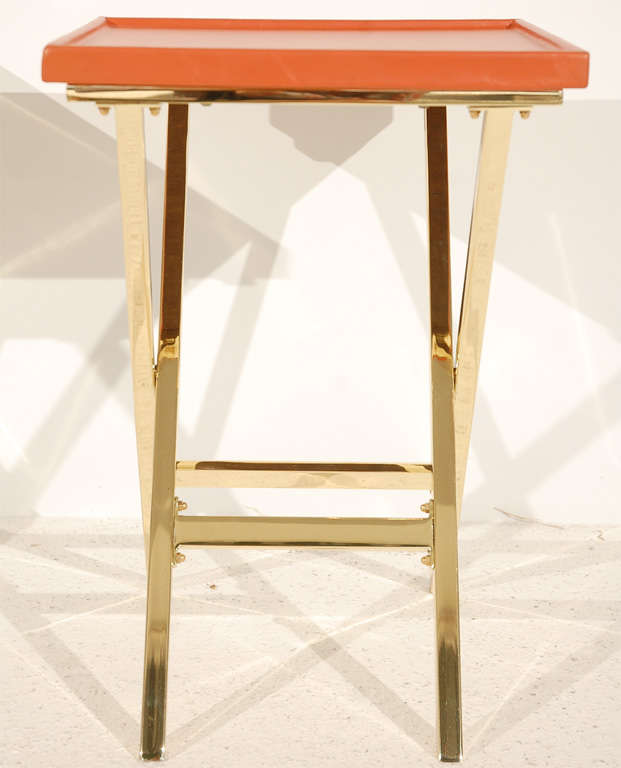 Pair of Brass and Leather Side Tables For Sale 2