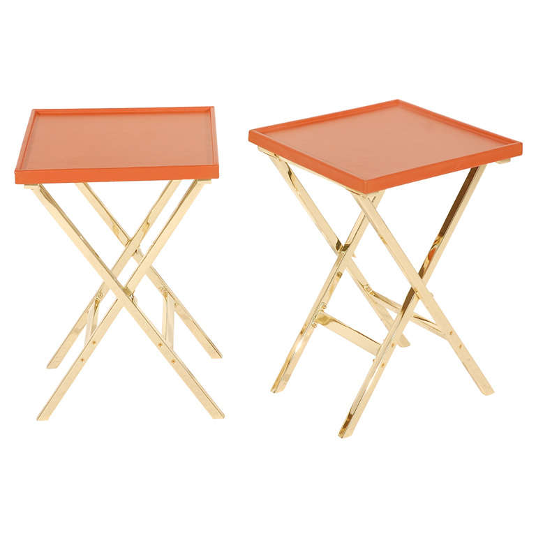 Pair of Brass and Leather Side Tables For Sale