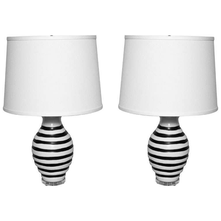 Pair Of Mid Century Etched Murano Glass Lamps At 1stdibs