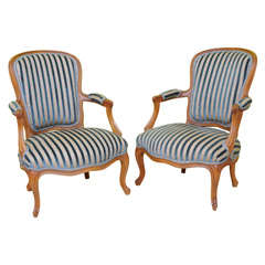 Fine Pair of Louis XV Style Chauffeuses or Fauteuils by Saridis