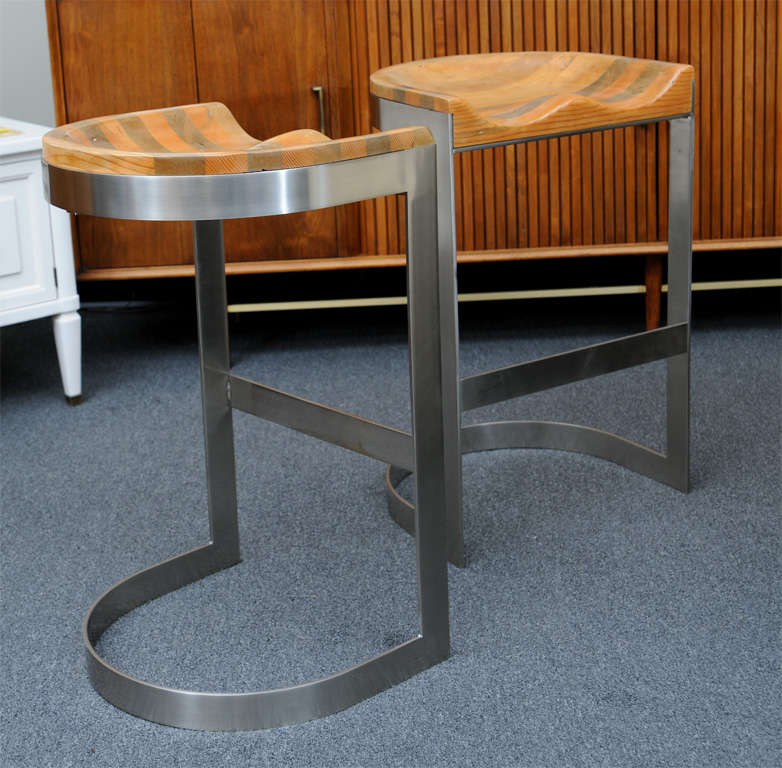 Rare Wood Saddle Seat Warren Bacon Bar Stools At 1stdibs