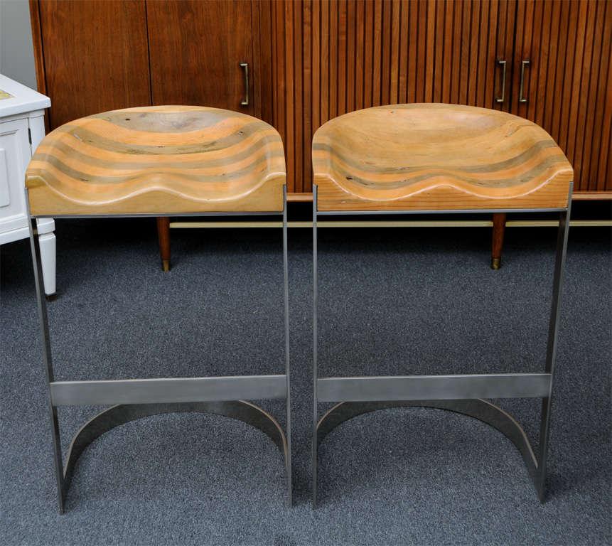 Rare Wood Saddle Seat Warren Bacon Bar Stools At 1stdibs