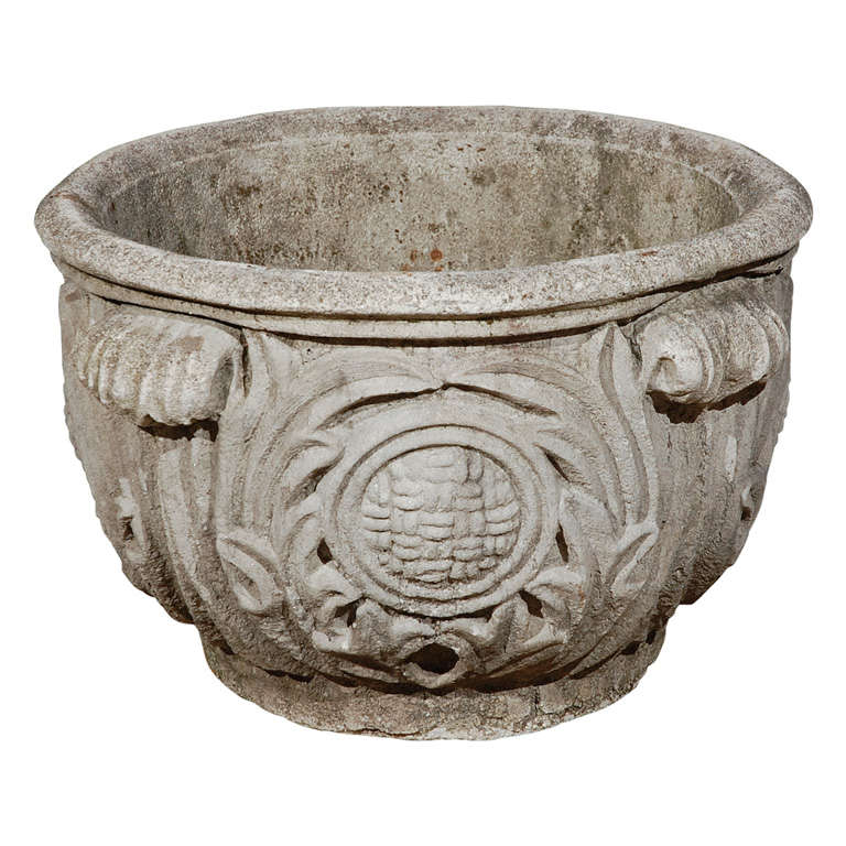 Cast concrete planter with acanthus leaf detail at 1stdibs - Casting concrete planters ...
